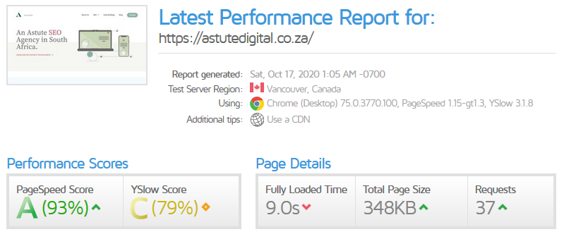 GTmetrix will show you how fast your website loads
